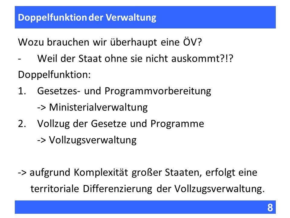 8 Fragen zur Vorlesung Doppelfunktion der Verwaltung Wozu brauchen wir überhaupt eine ÖV? -Weil der Staat ohne sie nicht auskommt?!? Doppelfunktion: 1