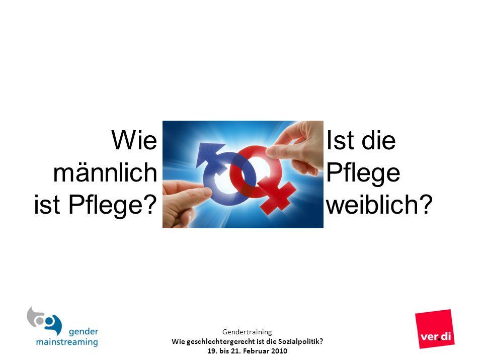 Gendertraining Wie geschlechtergerecht ist die Sozialpolitik? 19. bis 21. Februar 2010 Ist die Pflege weiblich? Wie männlich ist Pflege?