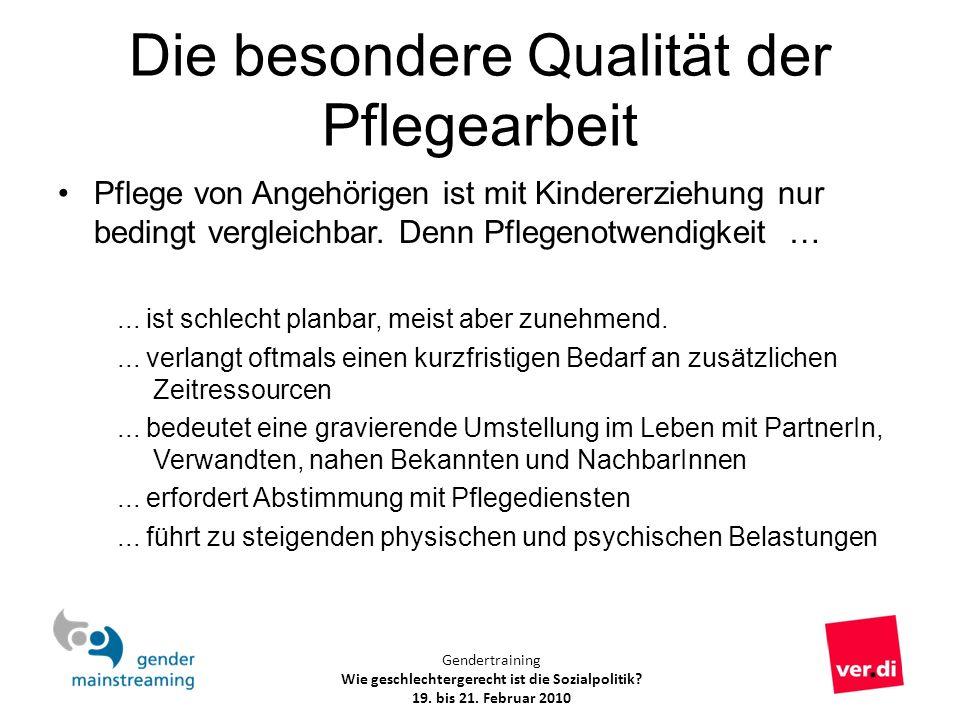 Gendertraining Wie geschlechtergerecht ist die Sozialpolitik? 19. bis 21. Februar 2010 Die besondere Qualität der Pflegearbeit Pflege von Angehörigen