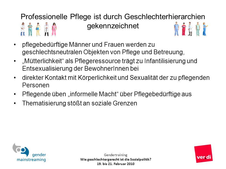 Gendertraining Wie geschlechtergerecht ist die Sozialpolitik? 19. bis 21. Februar 2010 Professionelle Pflege ist durch Geschlechterhierarchien gekennz