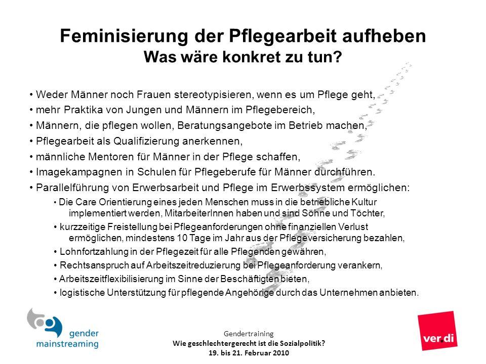 Gendertraining Wie geschlechtergerecht ist die Sozialpolitik? 19. bis 21. Februar 2010 Feminisierung der Pflegearbeit aufheben Was wäre konkret zu tun