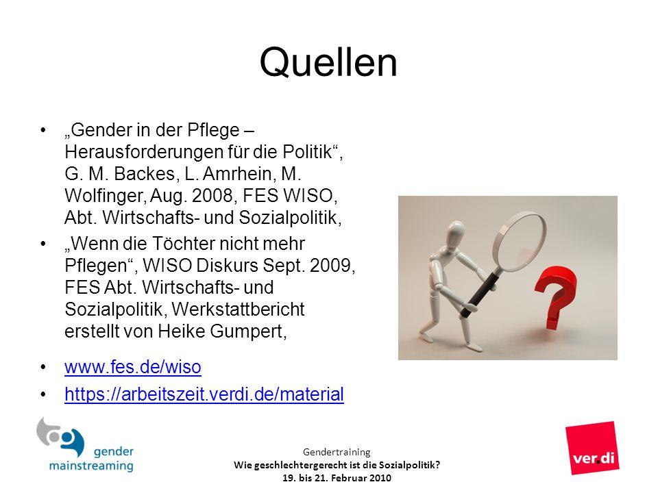 Gendertraining Wie geschlechtergerecht ist die Sozialpolitik? 19. bis 21. Februar 2010 Quellen Gender in der Pflege – Herausforderungen für die Politi