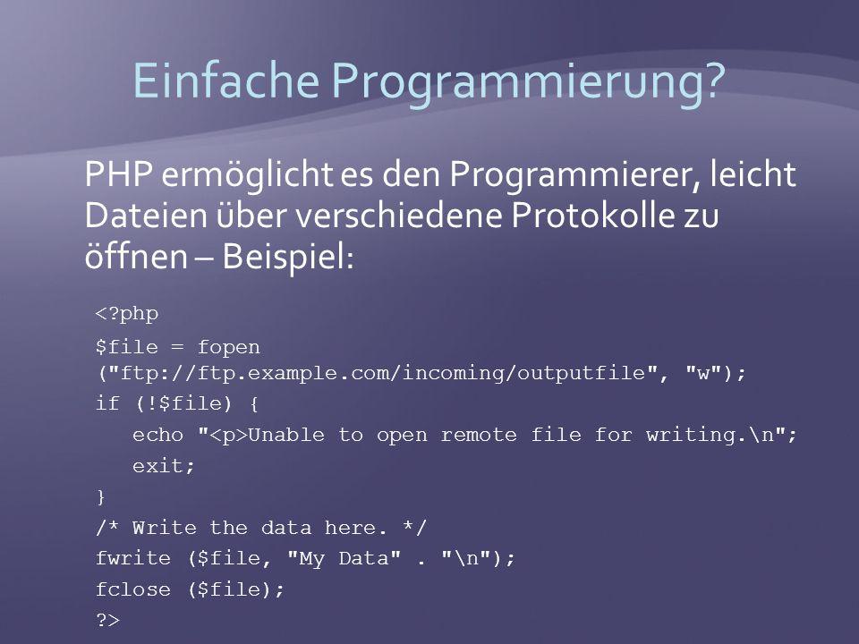 Teufelswerk allow_url_fopen allow_url_fopen erlaubt das Öffnen von Dateien mittels einer URL.