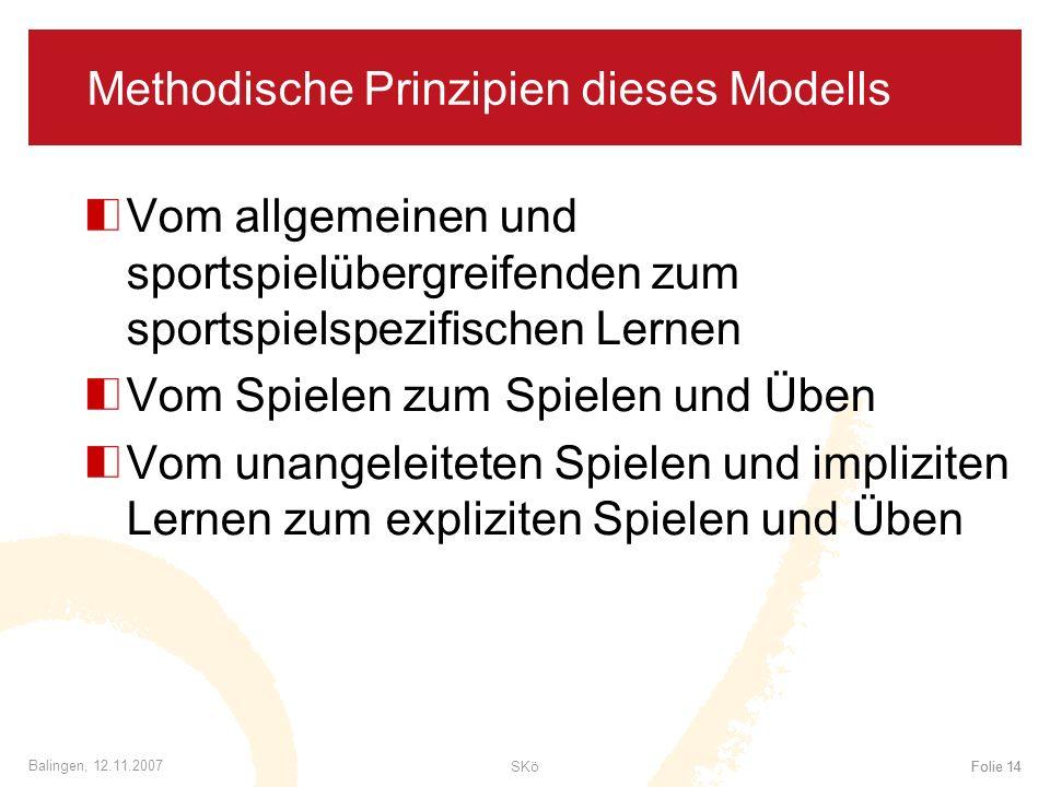SKöFolie 14 Balingen, 12.11.2007 Folie 14 Methodische Prinzipien dieses Modells Vom allgemeinen und sportspielübergreifenden zum sportspielspezifische