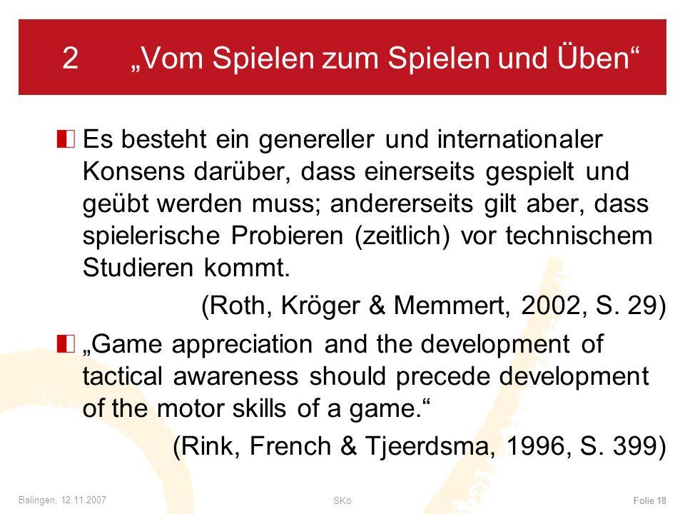 SKöFolie 18 Balingen, 12.11.2007 Folie 18 2Vom Spielen zum Spielen und Üben Es besteht ein genereller und internationaler Konsens darüber, dass einers