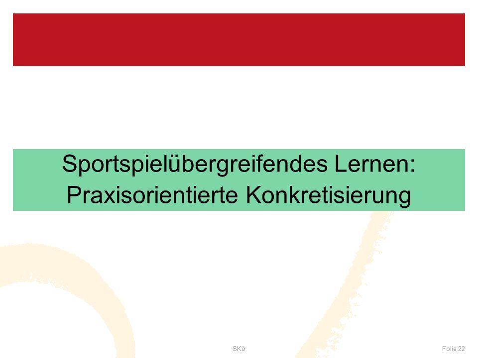 SKöFolie 22 Sportspielübergreifendes Lernen: Praxisorientierte Konkretisierung