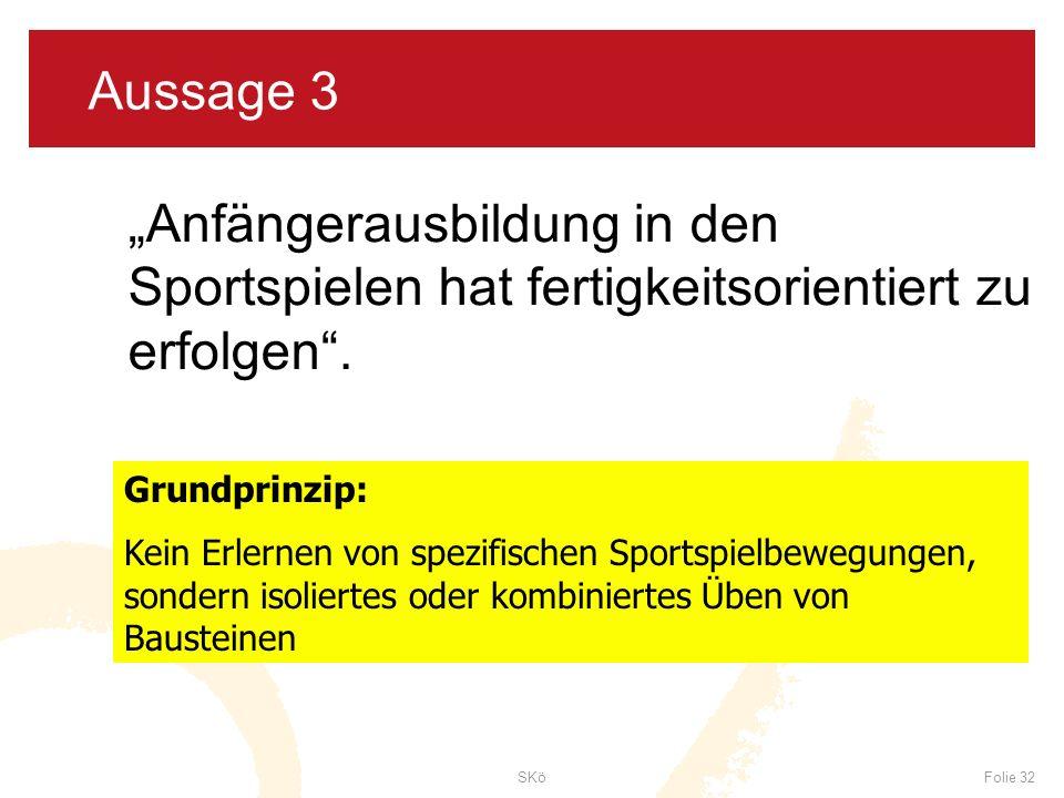SKöFolie 32 Aussage 3 Anfängerausbildung in den Sportspielen hat fertigkeitsorientiert zu erfolgen. Grundprinzip: Kein Erlernen von spezifischen Sport