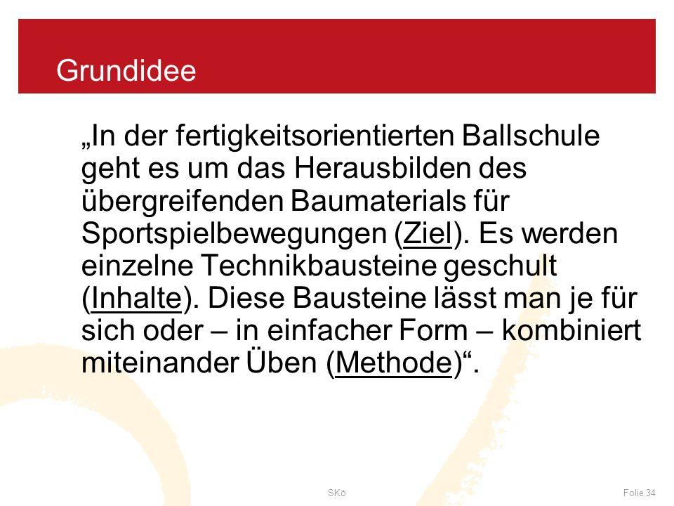 SKöFolie 34 Grundidee In der fertigkeitsorientierten Ballschule geht es um das Herausbilden des übergreifenden Baumaterials für Sportspielbewegungen (