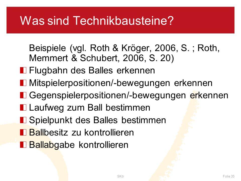 SKöFolie 35 Was sind Technikbausteine? Beispiele (vgl. Roth & Kröger, 2006, S. ; Roth, Memmert & Schubert, 2006, S. 20) Flugbahn des Balles erkennen M