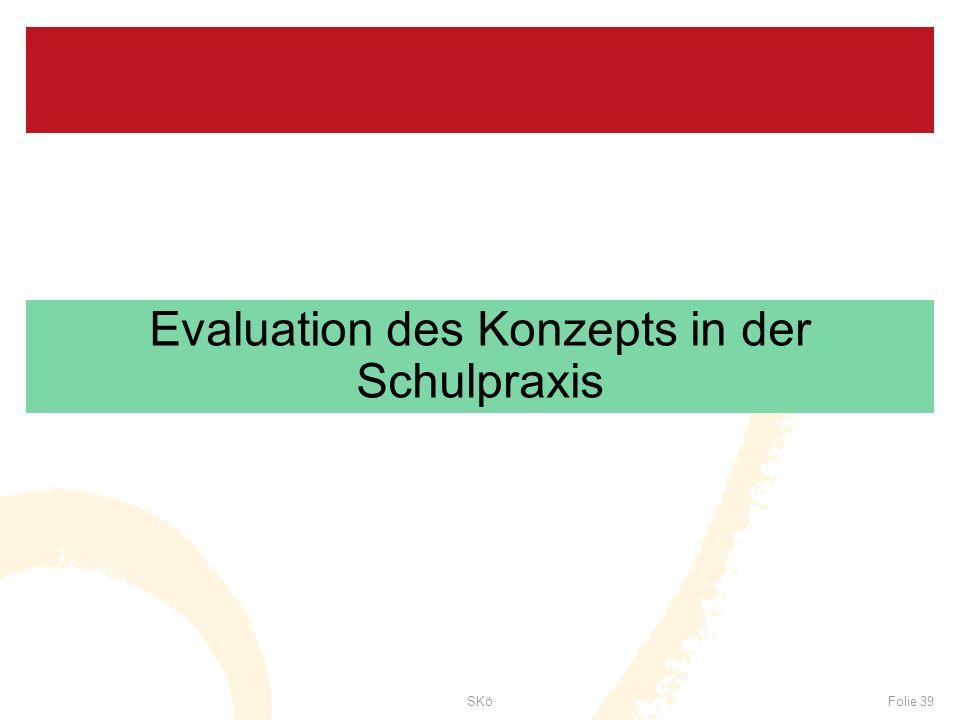 SKöFolie 39 Evaluation des Konzepts in der Schulpraxis