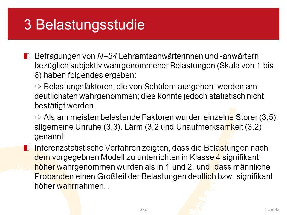 SKöFolie 43 3 Belastungsstudie Befragungen von N=34 Lehramtsanwärterinnen und -anwärtern bezüglich subjektiv wahrgenommener Belastungen (Skala von 1 b