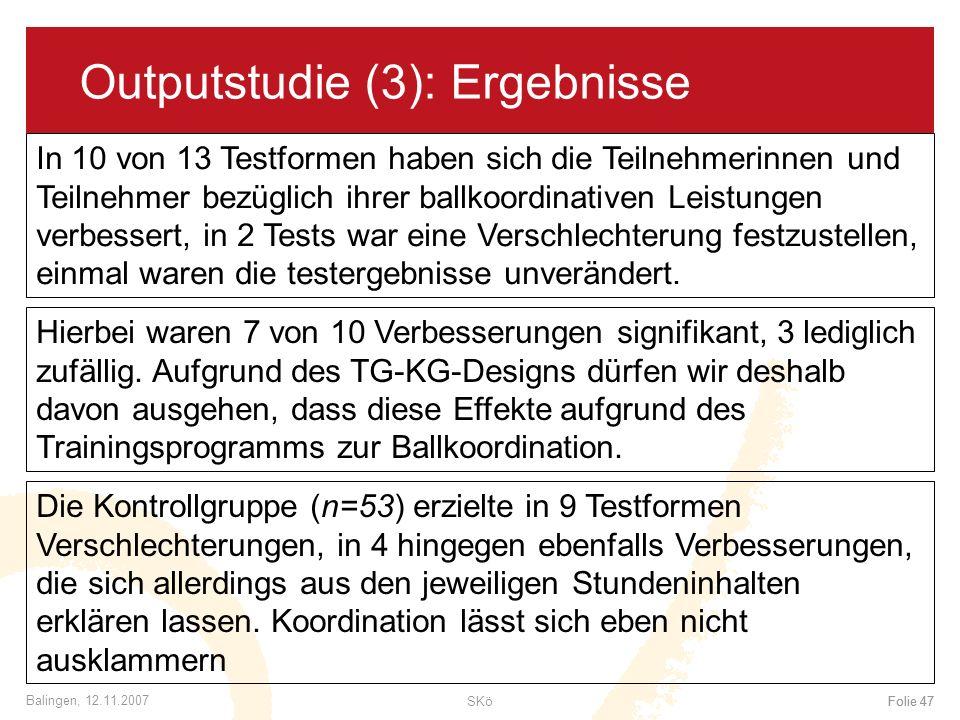 SKöFolie 47 Balingen, 12.11.2007 Folie 47 Outputstudie (3): Ergebnisse In 10 von 13 Testformen haben sich die Teilnehmerinnen und Teilnehmer bezüglich