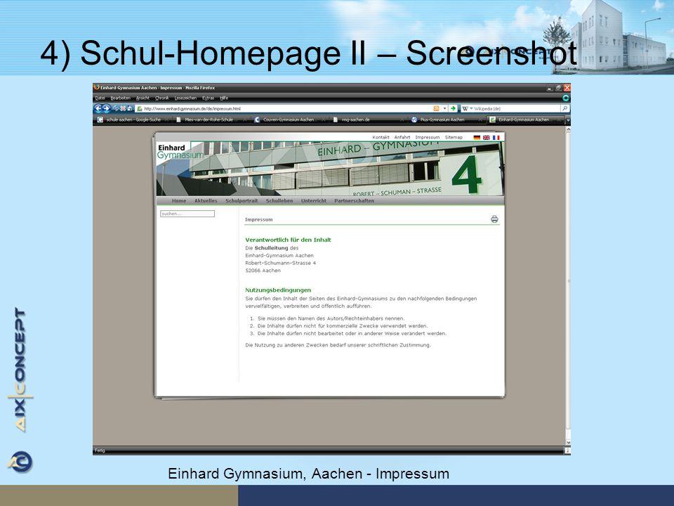 4) Schul-Homepage II – Screenshot Einhard Gymnasium, Aachen - Impressum