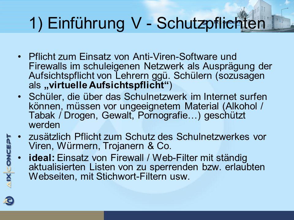 1) Einführung V - Schutzpflichten Pflicht zum Einsatz von Anti-Viren-Software und Firewalls im schuleigenen Netzwerk als Ausprägung der Aufsichtspflic