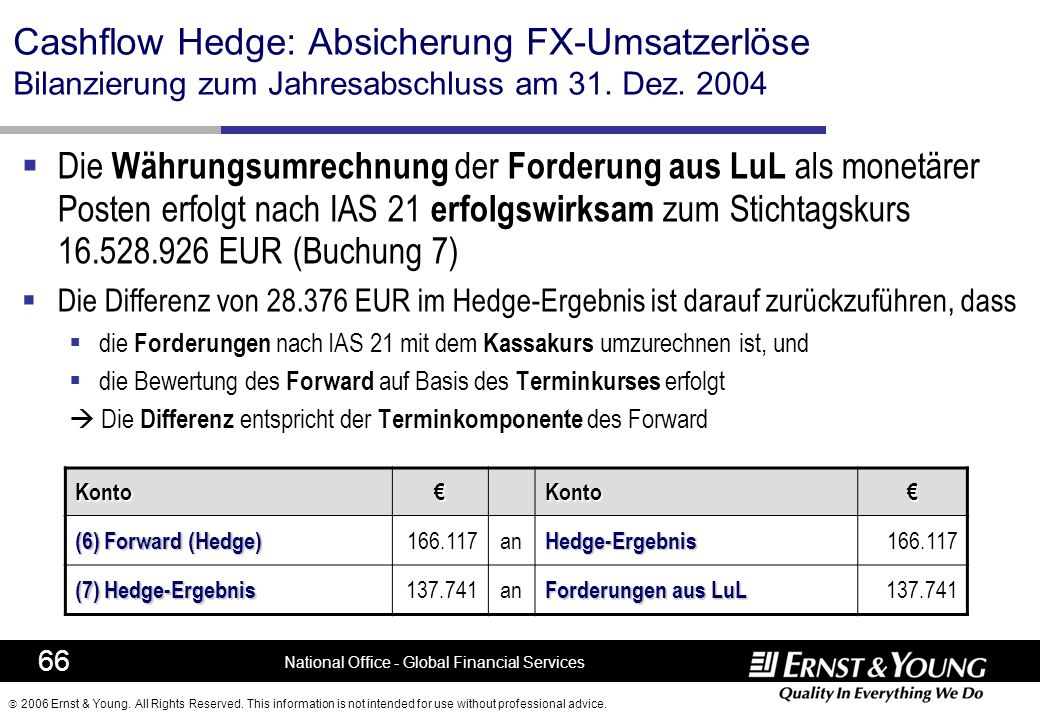 2006 Ernst & Young. All Rights Reserved. This information is not intended for use without professional advice. 66 National Office - Global Financial S