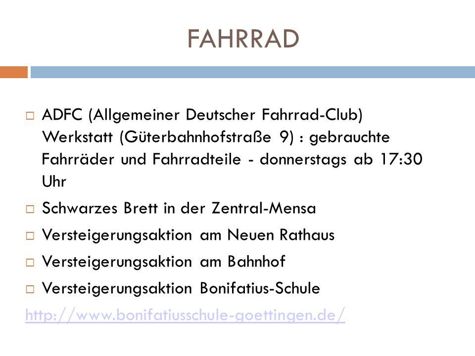 FAHRRAD ADFC (Allgemeiner Deutscher Fahrrad-Club) Werkstatt (Güterbahnhofstraße 9) : gebrauchte Fahrräder und Fahrradteile - donnerstags ab 17:30 Uhr