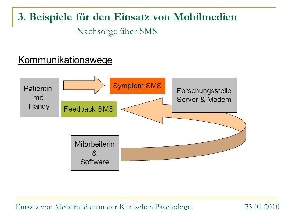 3. Beispiele für den Einsatz von Mobilmedien Nachsorge über SMS Kommunikationswege Einsatz von Mobilmedien in der Klinischen Psychologie 23.01.2010 Pa