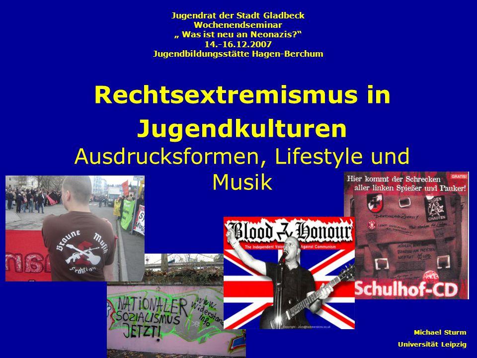 Rechtsextremismus in Jugendkulturen Ausdrucksformen, Lifestyle und Musik Jugendrat der Stadt Gladbeck Wochenendseminar Was ist neu an Neonazis? 14.-16