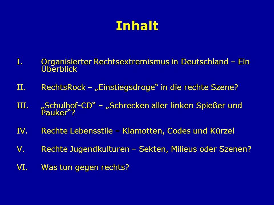 Inhalt I.Organisierter Rechtsextremismus in Deutschland – Ein Überblick II.RechtsRock – Einstiegsdroge in die rechte Szene? III.Schulhof-CD – Schrecke