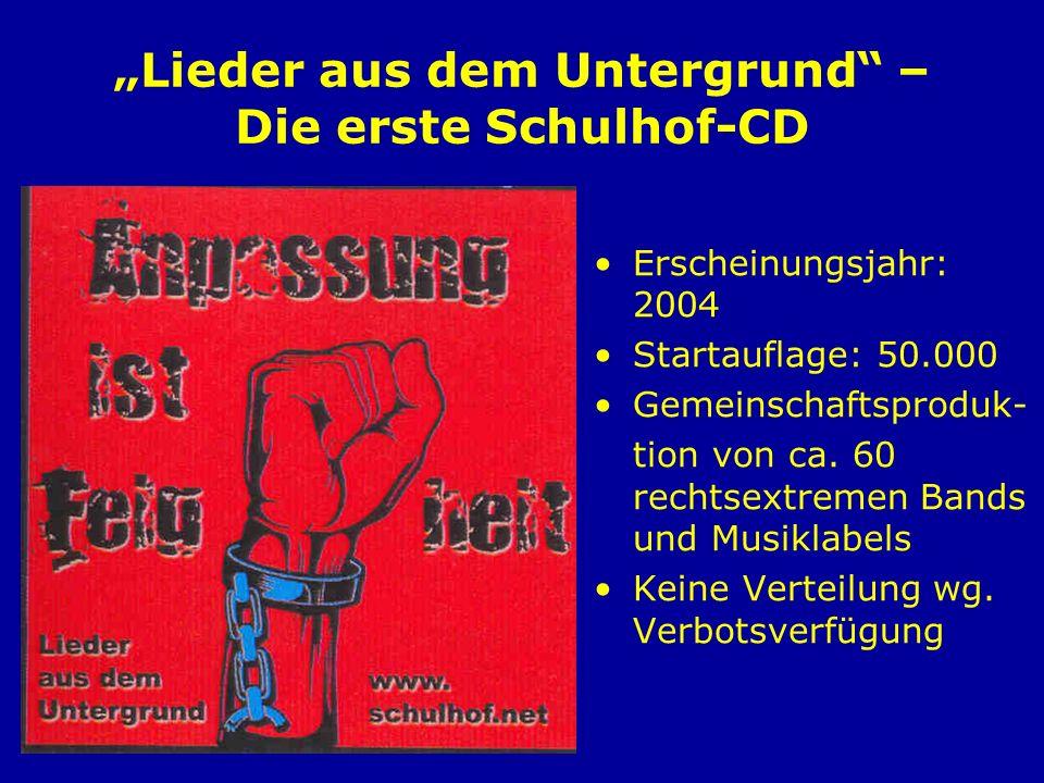 Lieder aus dem Untergrund – Die erste Schulhof-CD Erscheinungsjahr: 2004 Startauflage: 50.000 Gemeinschaftsproduk- tion von ca. 60 rechtsextremen Band