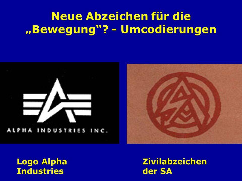 Neue Abzeichen für die Bewegung? - Umcodierungen Logo Alpha Industries Zivilabzeichen der SA