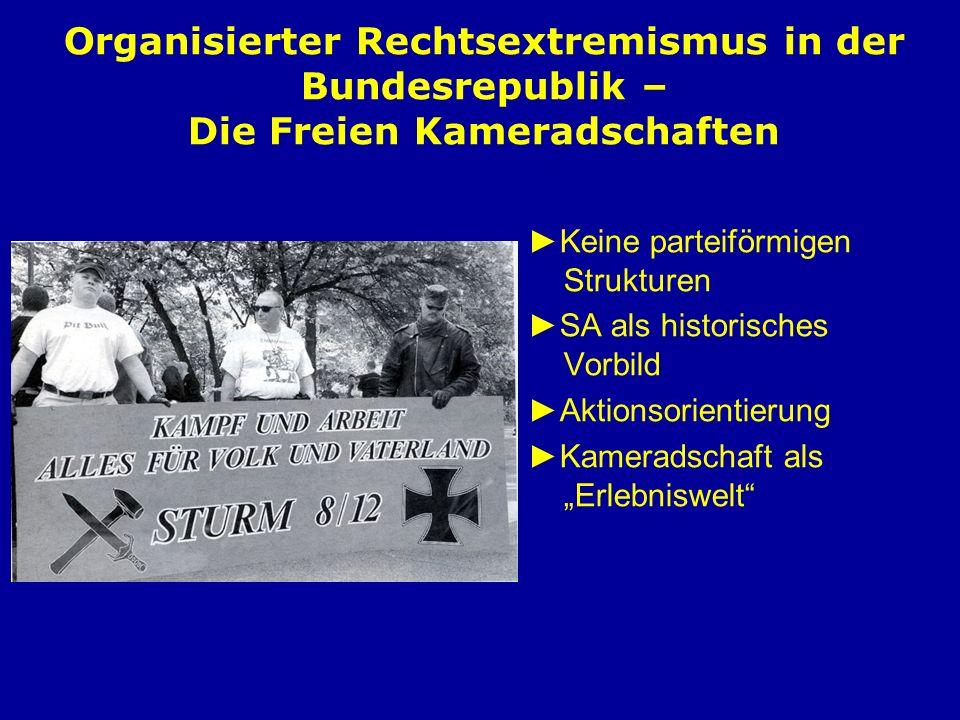 Organisierter Rechtsextremismus in der Bundesrepublik – Die Freien Kameradschaften Keine parteiförmigen Strukturen SA als historisches Vorbild Aktions