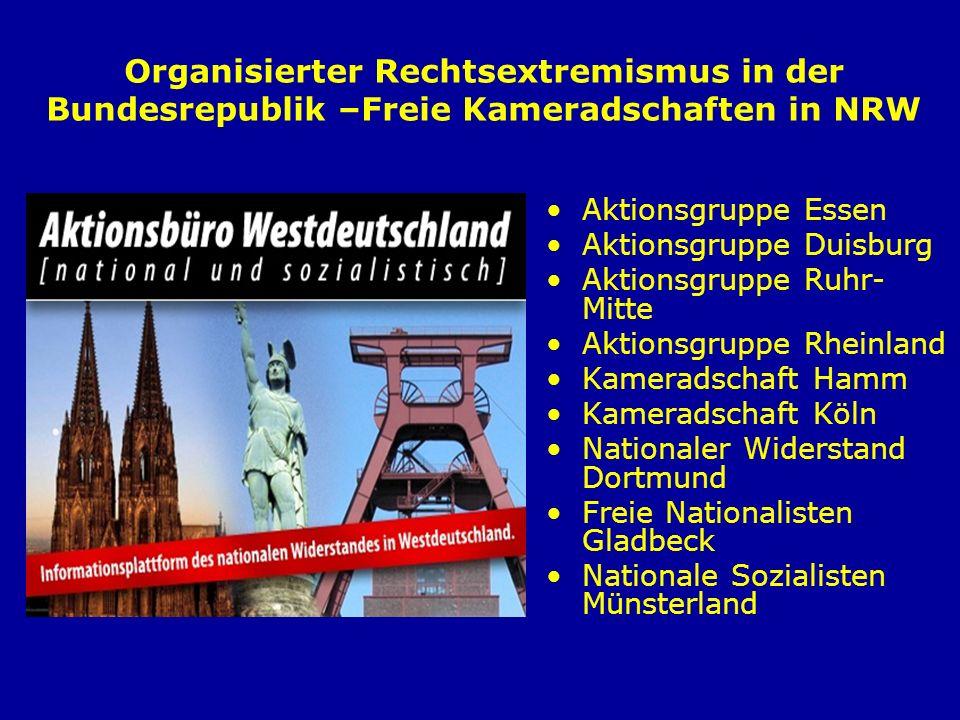Organisierter Rechtsextremismus in der Bundesrepublik –Freie Kameradschaften in NRW Aktionsgruppe Essen Aktionsgruppe Duisburg Aktionsgruppe Ruhr- Mit