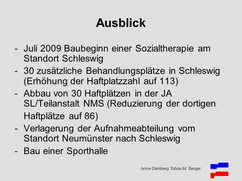 Anne Damberg, Tobias M. Berger Ausblick -Juli 2009 Baubeginn einer Sozialtherapie am Standort Schleswig -30 zusätzliche Behandlungsplätze in Schleswig