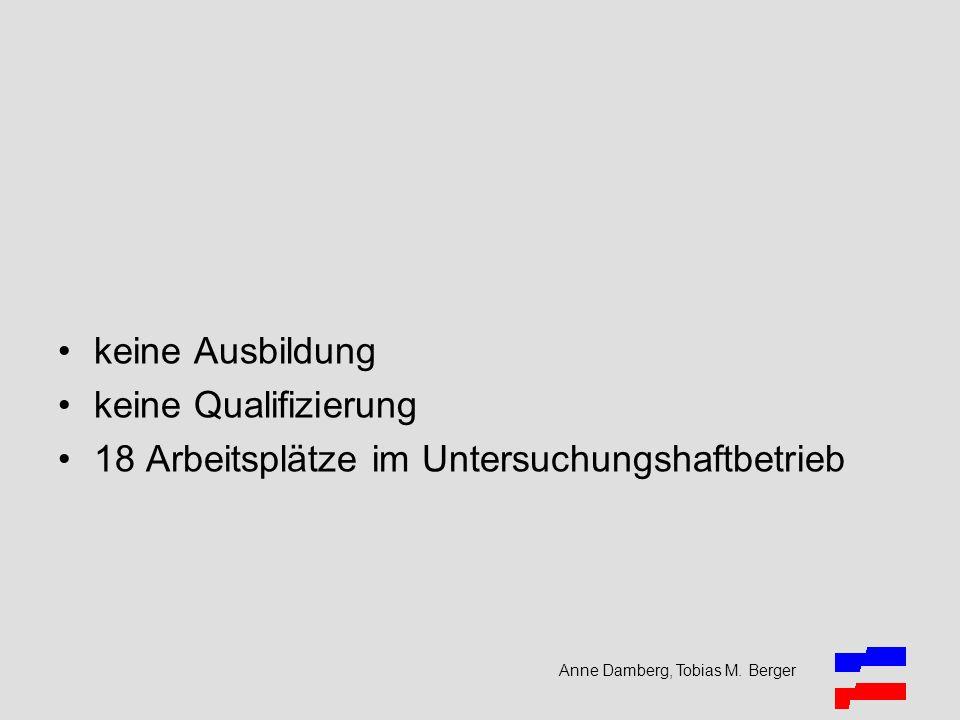 keine Ausbildung keine Qualifizierung 18 Arbeitsplätze im Untersuchungshaftbetrieb Anne Damberg, Tobias M. Berger