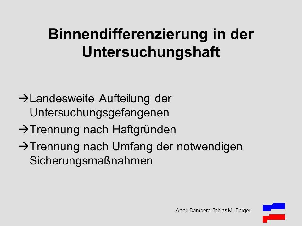 Anne Damberg, Tobias M. Berger Binnendifferenzierung in der Untersuchungshaft Landesweite Aufteilung der Untersuchungsgefangenen Trennung nach Haftgrü