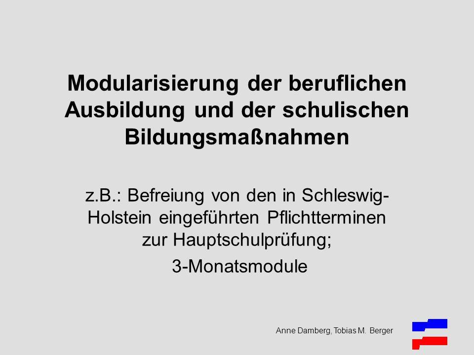 Anne Damberg, Tobias M. Berger Modularisierung der beruflichen Ausbildung und der schulischen Bildungsmaßnahmen z.B.: Befreiung von den in Schleswig-