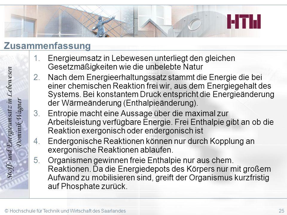 Stoff- und Energieumsatz in Lebewesen Dominik Wagner © Hochschule für Technik und Wirtschaft des Saarlandes25 Zusammenfassung 1.Energieumsatz in Lebew