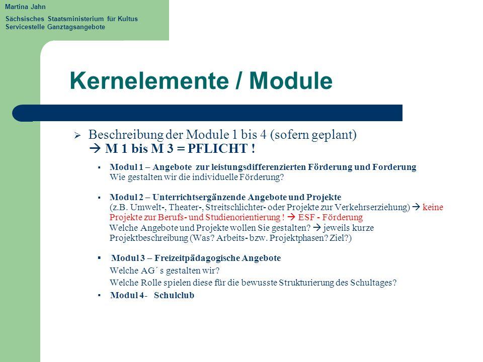 Kernelemente / Module Beschreibung der Module 1 bis 4 (sofern geplant) M 1 bis M 3 = PFLICHT ! Modul 1 – Angebote zur leistungsdifferenzierten Förderu