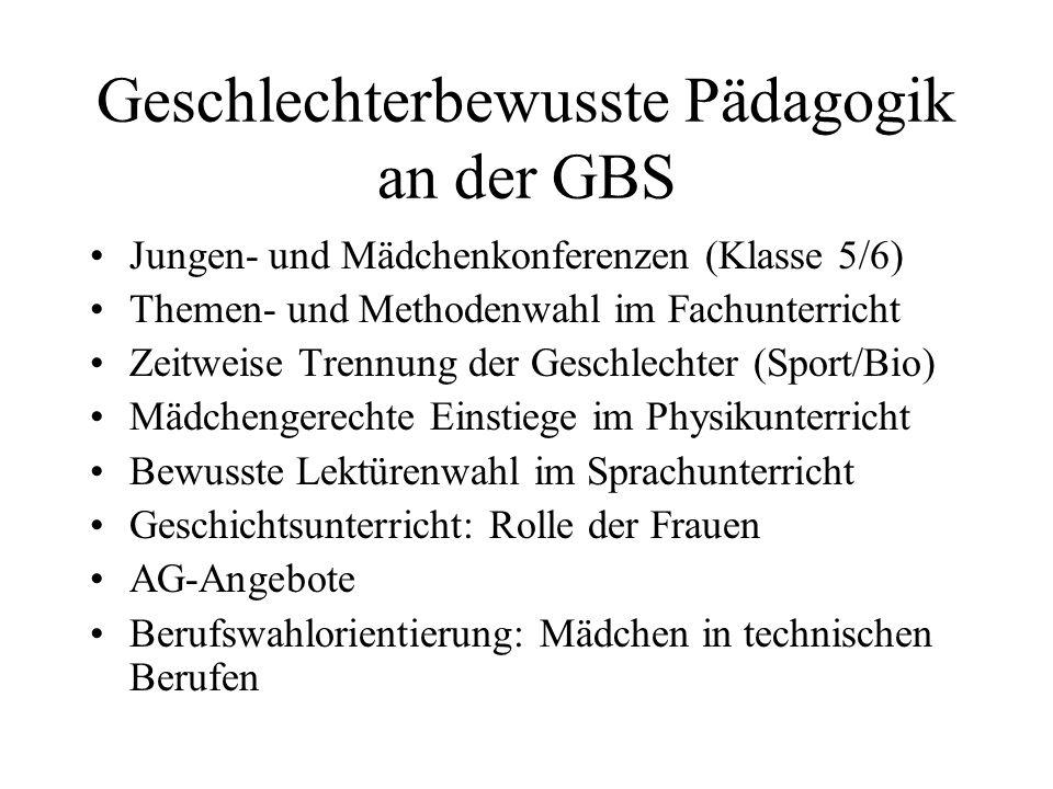 Geschlechterbewusste Pädagogik an der GBS Jungen- und Mädchenkonferenzen (Klasse 5/6) Themen- und Methodenwahl im Fachunterricht Zeitweise Trennung de