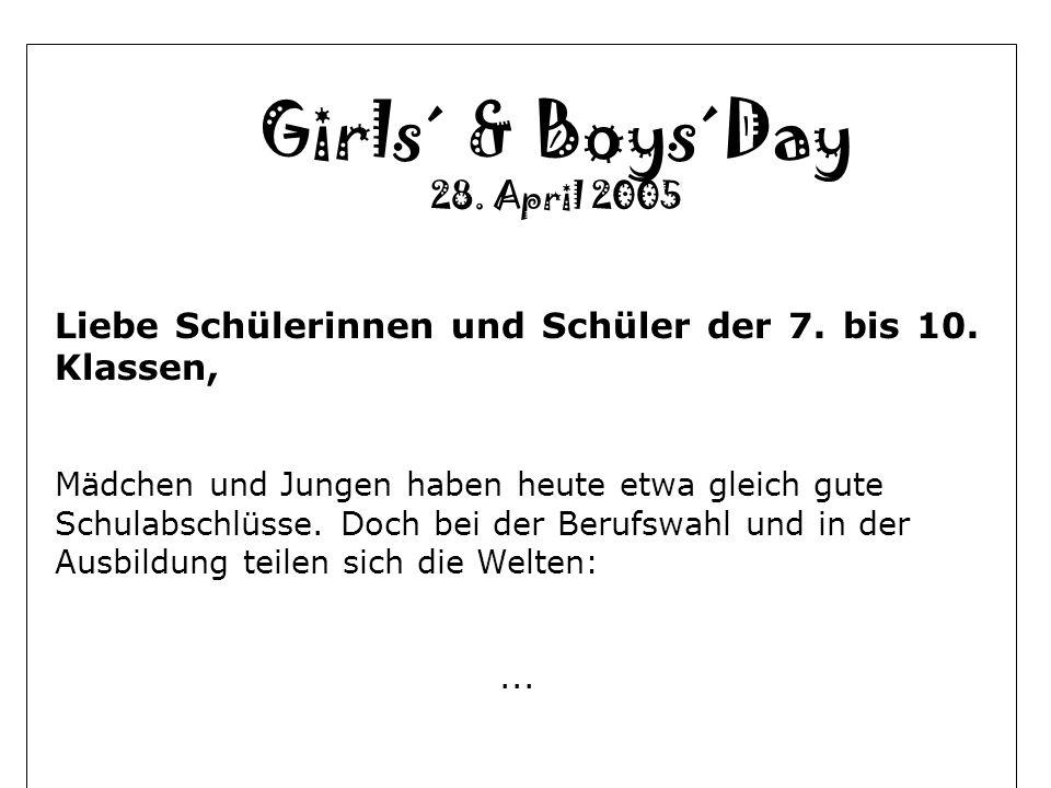Girls´ & Boys´Day 28. April 2005 Liebe Schülerinnen und Schüler der 7. bis 10. Klassen, Mädchen und Jungen haben heute etwa gleich gute Schulabschlüss