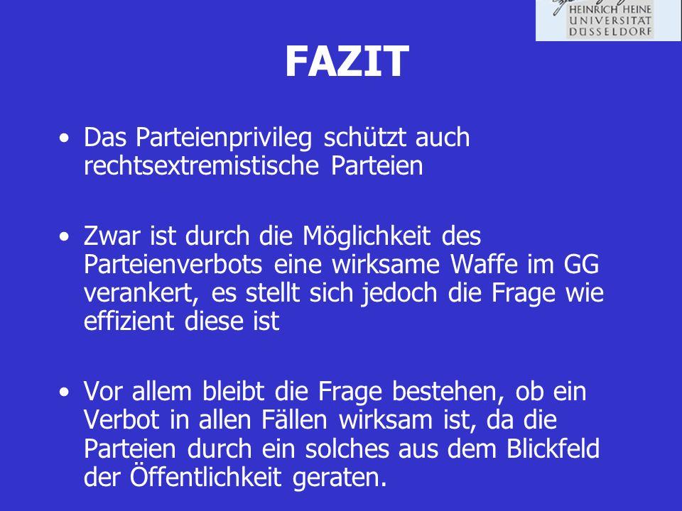 FAZIT Das Parteienprivileg schützt auch rechtsextremistische Parteien Zwar ist durch die Möglichkeit des Parteienverbots eine wirksame Waffe im GG ver