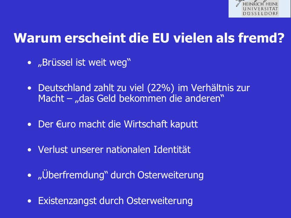 Warum erscheint die EU vielen als fremd? Brüssel ist weit weg Deutschland zahlt zu viel (22%) im Verhältnis zur Macht – das Geld bekommen die anderen