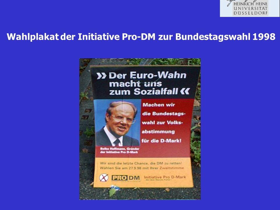 Wahlplakat der Initiative Pro-DM zur Bundestagswahl 1998