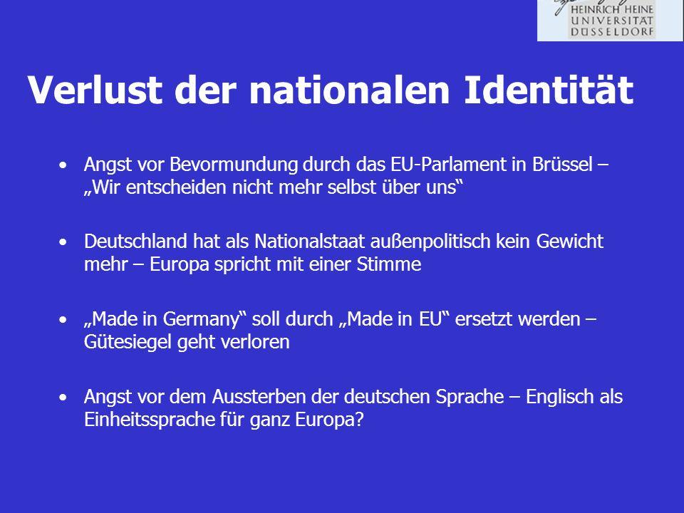Verlust der nationalen Identität Angst vor Bevormundung durch das EU-Parlament in Brüssel – Wir entscheiden nicht mehr selbst über uns Deutschland hat