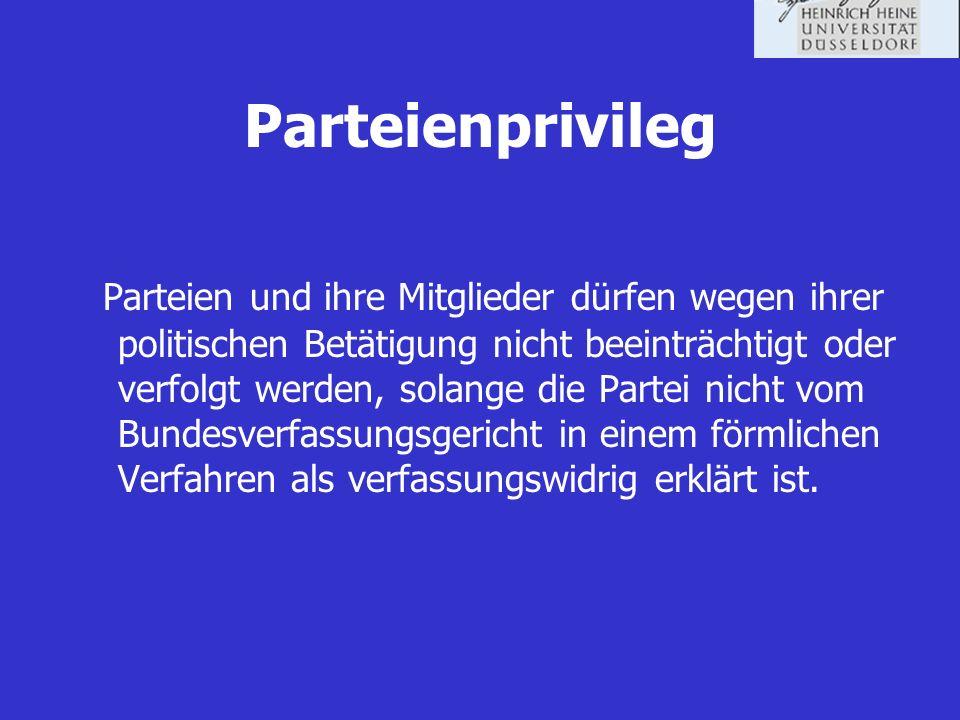 Rechtliche Bestimmungen zur Wahlwerbung Chancengleichheit: Jede Partei kann an Wahlen teilnehmen und Wahlwerbung betreiben.