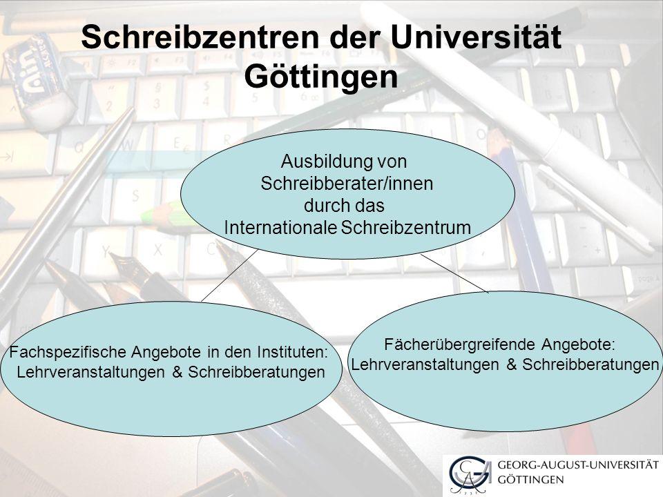 Schreibzentren der Universität Göttingen Ausbildung von Schreibberater/innen durch das Internationale Schreibzentrum Fachspezifische Angebote in den I