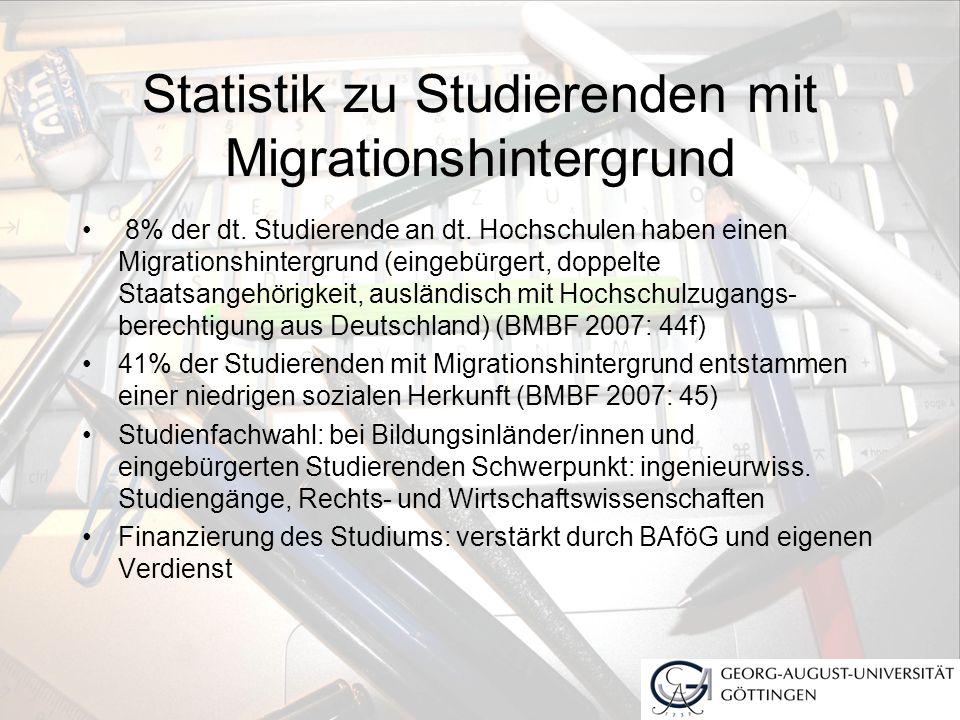 Statistik zu Studierenden mit Migrationshintergrund 8% der dt. Studierende an dt. Hochschulen haben einen Migrationshintergrund (eingebürgert, doppelt