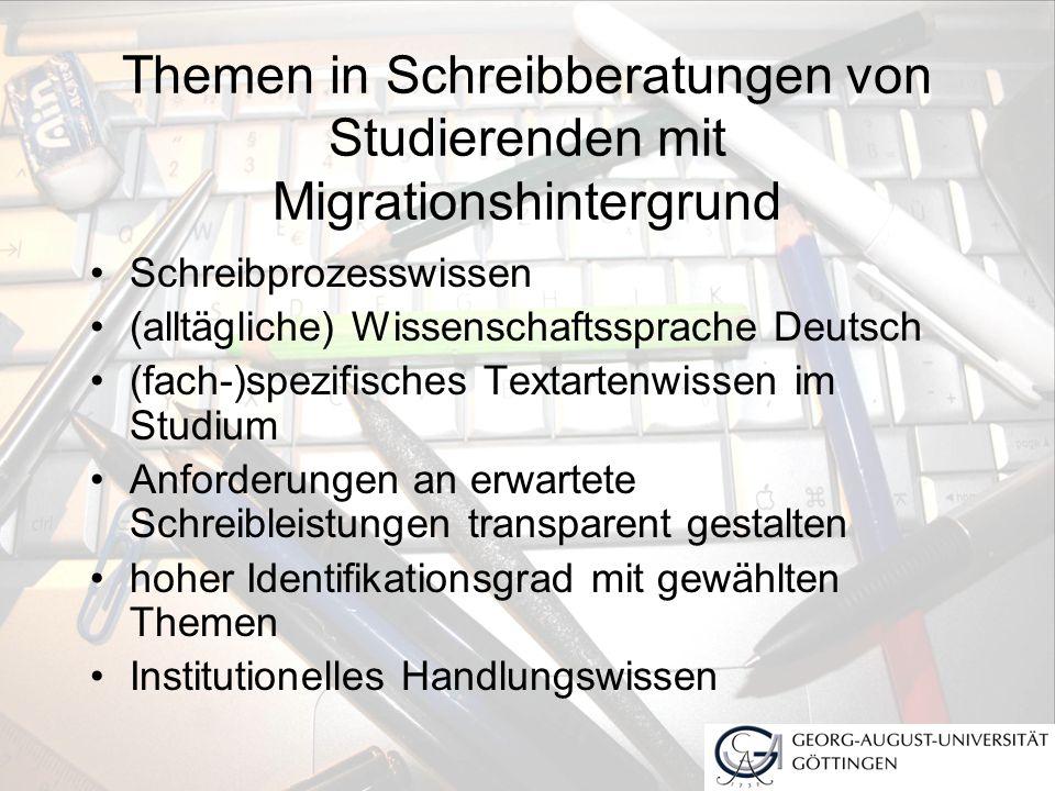 Themen in Schreibberatungen von Studierenden mit Migrationshintergrund Schreibprozesswissen (alltägliche) Wissenschaftssprache Deutsch (fach-)spezifis
