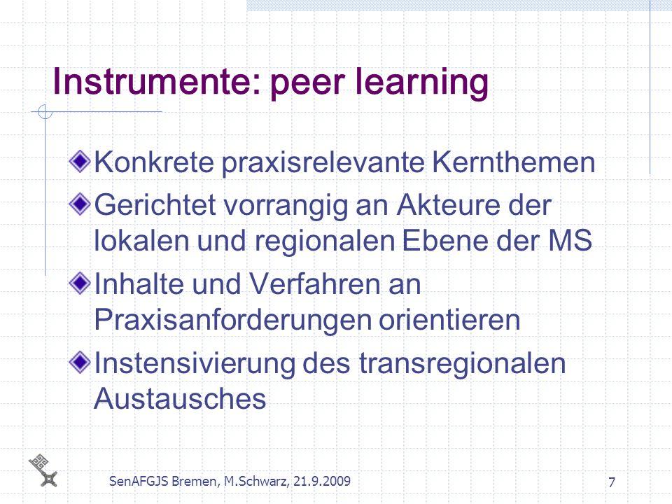 SenAFGJS Bremen, M.Schwarz, 21.9.2009 7 Instrumente: peer learning Konkrete praxisrelevante Kernthemen Gerichtet vorrangig an Akteure der lokalen und