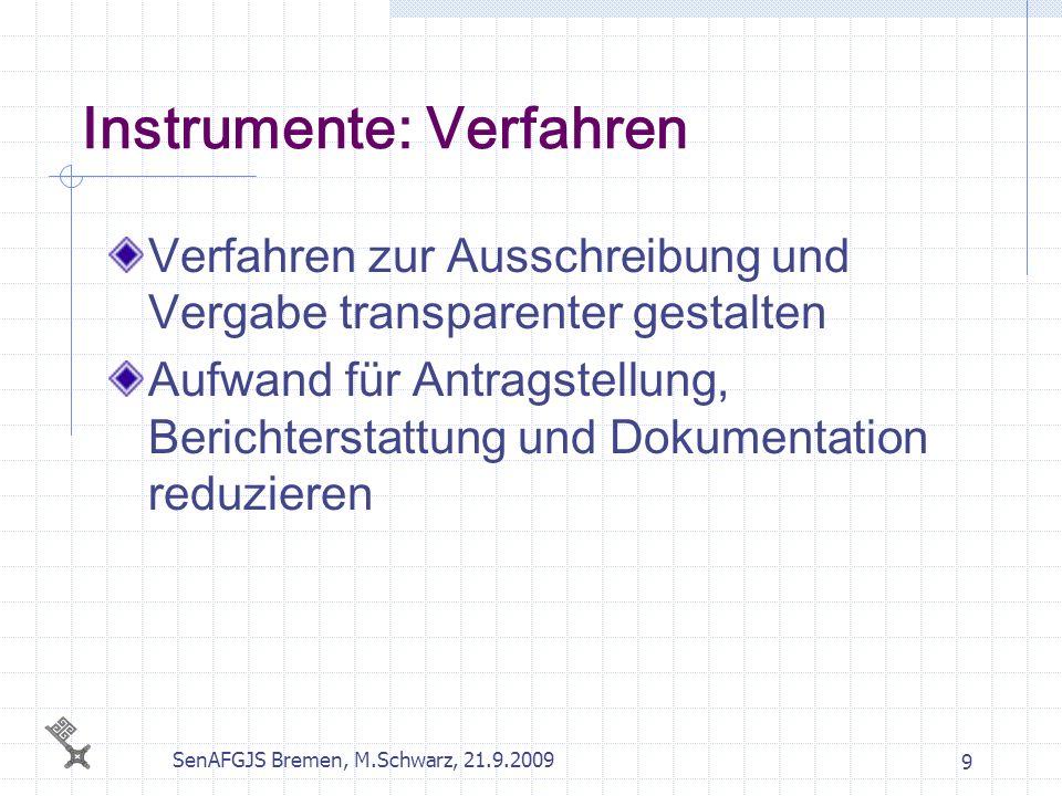 SenAFGJS Bremen, M.Schwarz, 21.9.2009 9 Instrumente: Verfahren Verfahren zur Ausschreibung und Vergabe transparenter gestalten Aufwand für Antragstell