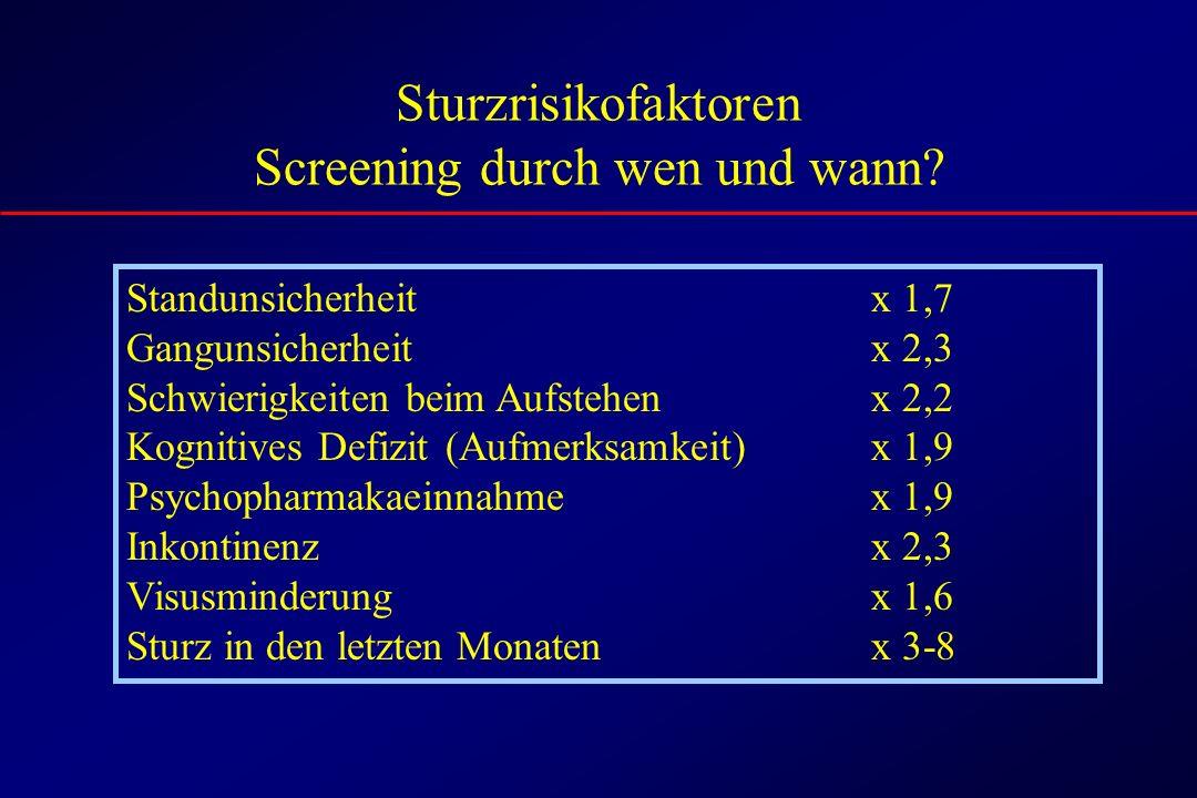 Sturzrisikofaktoren Screening durch wen und wann.