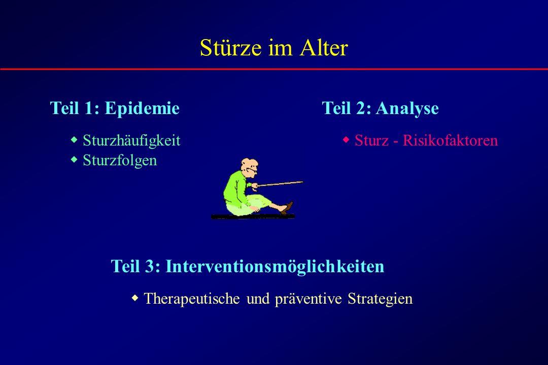 Stürze im Alter Teil 1: Epidemie Sturzhäufigkeit Sturzfolgen Teil 2: Analyse Sturz - Risikofaktoren Teil 3: Interventionsmöglichkeiten Therapeutische und präventive Strategien