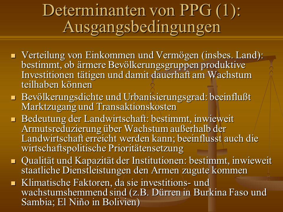 Determinanten von PPG (1): Ausgangsbedingungen Verteilung von Einkommen und Vermögen (insbes. Land): bestimmt, ob ärmere Bevölkerungsgruppen produktiv