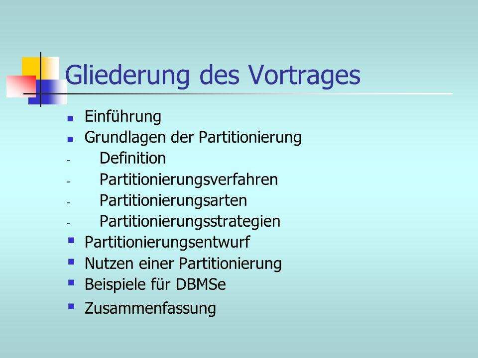 Gliederung des Vortrages Einführung Grundlagen der Partitionierung - Definition - Partitionierungsverfahren - Partitionierungsarten - Partitionierungs