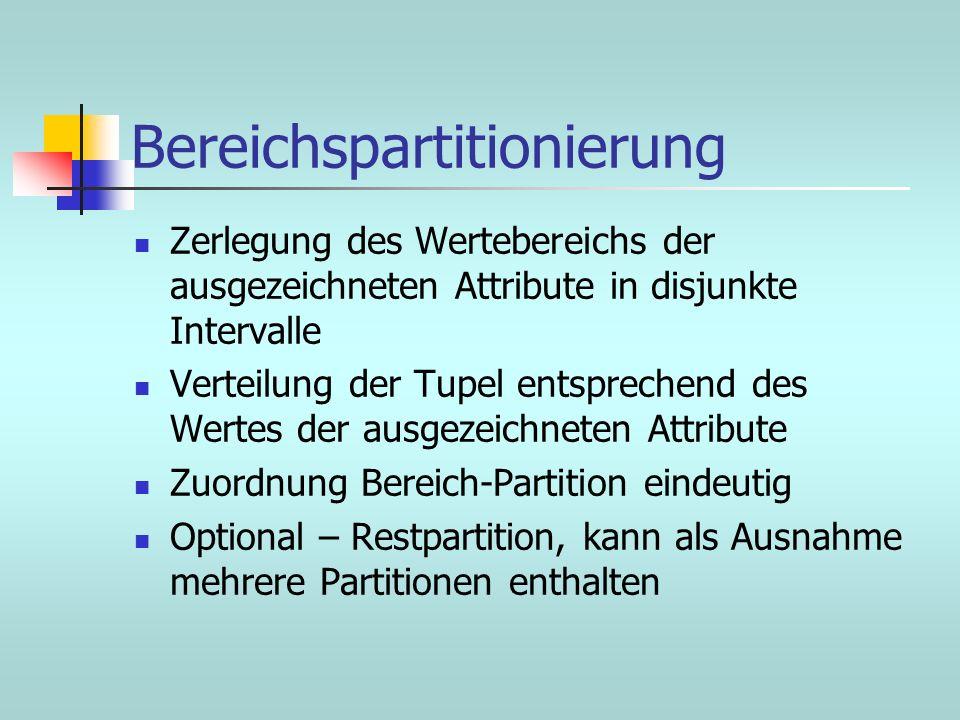 Bereichspartitionierung Zerlegung des Wertebereichs der ausgezeichneten Attribute in disjunkte Intervalle Verteilung der Tupel entsprechend des Wertes